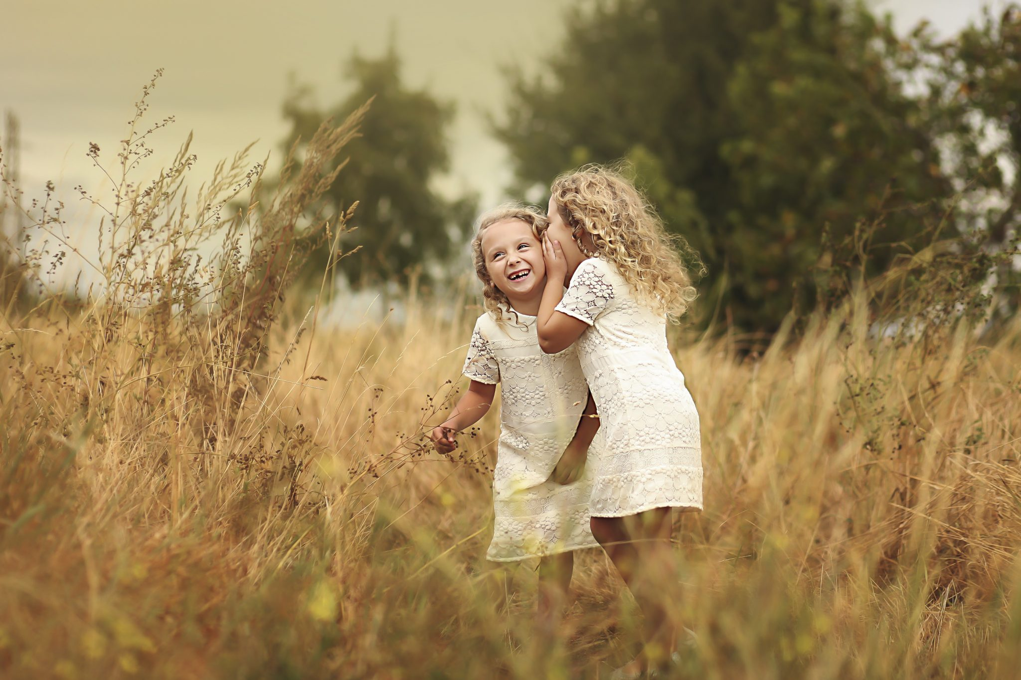 Sisters playing in long grass in summer twin girls whisphering and giggling in Kent