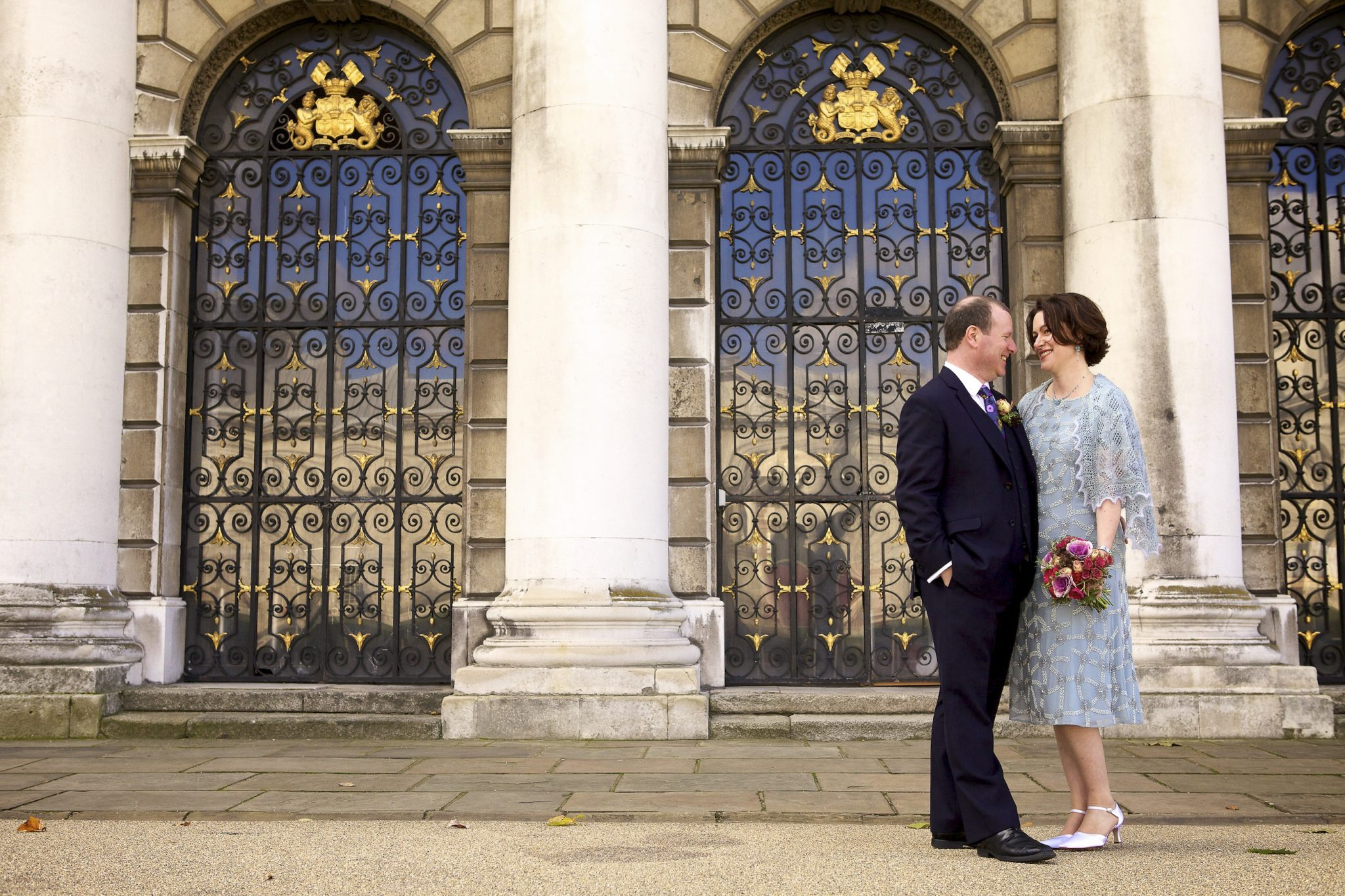 Couple portrait at wedding in Greenwich by London wedding photographer
