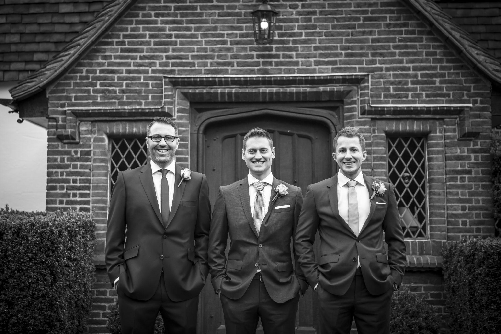 Groomsmen posing before wedding at Oaks Farm Weddings, Shirley Croydon