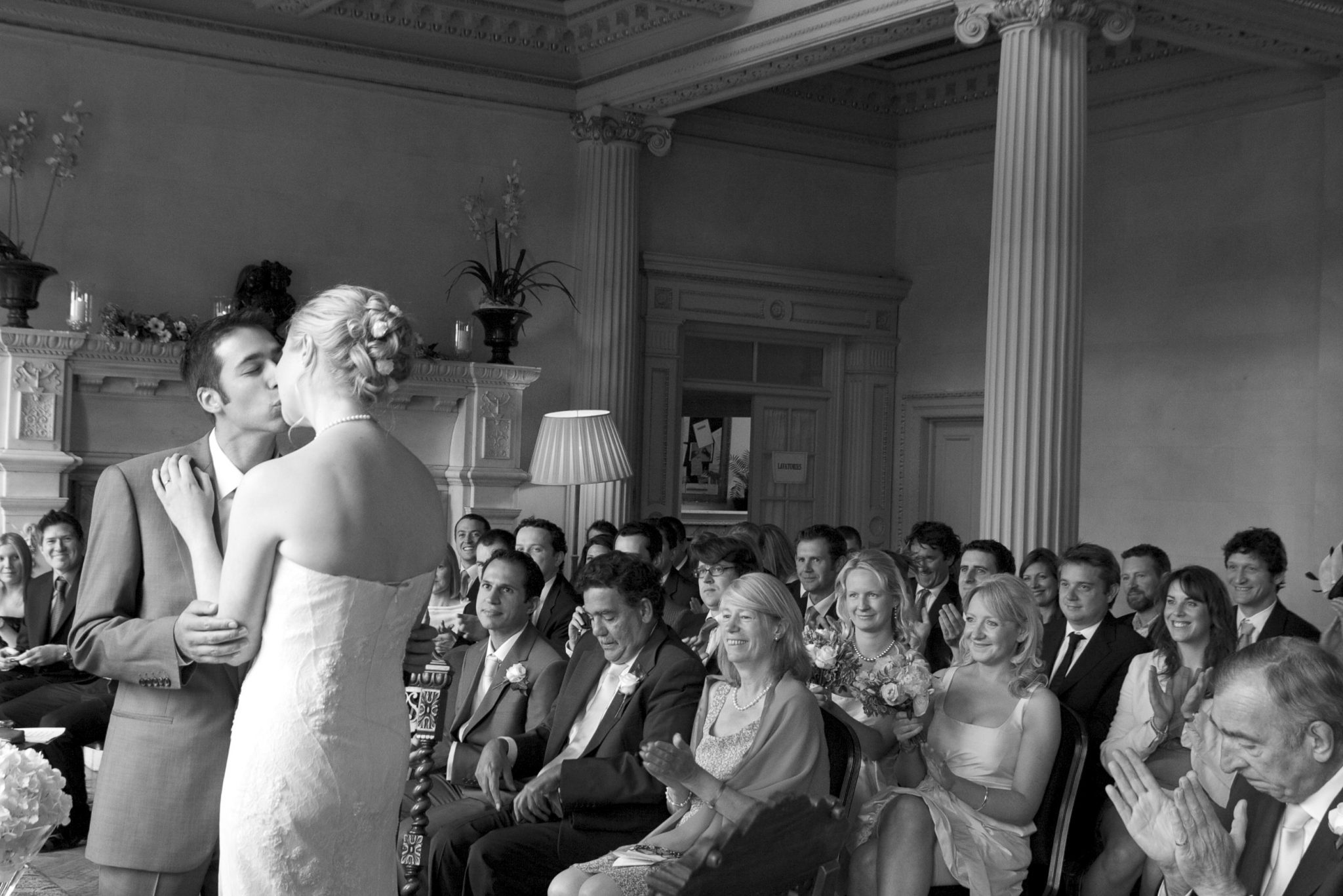Couples first kiss in ceremony
