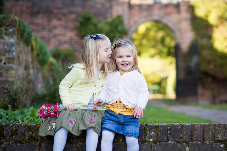sisters and flowers photographed in Beckenham Kent