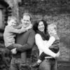 Fun family portrait black and white in Beckenham park