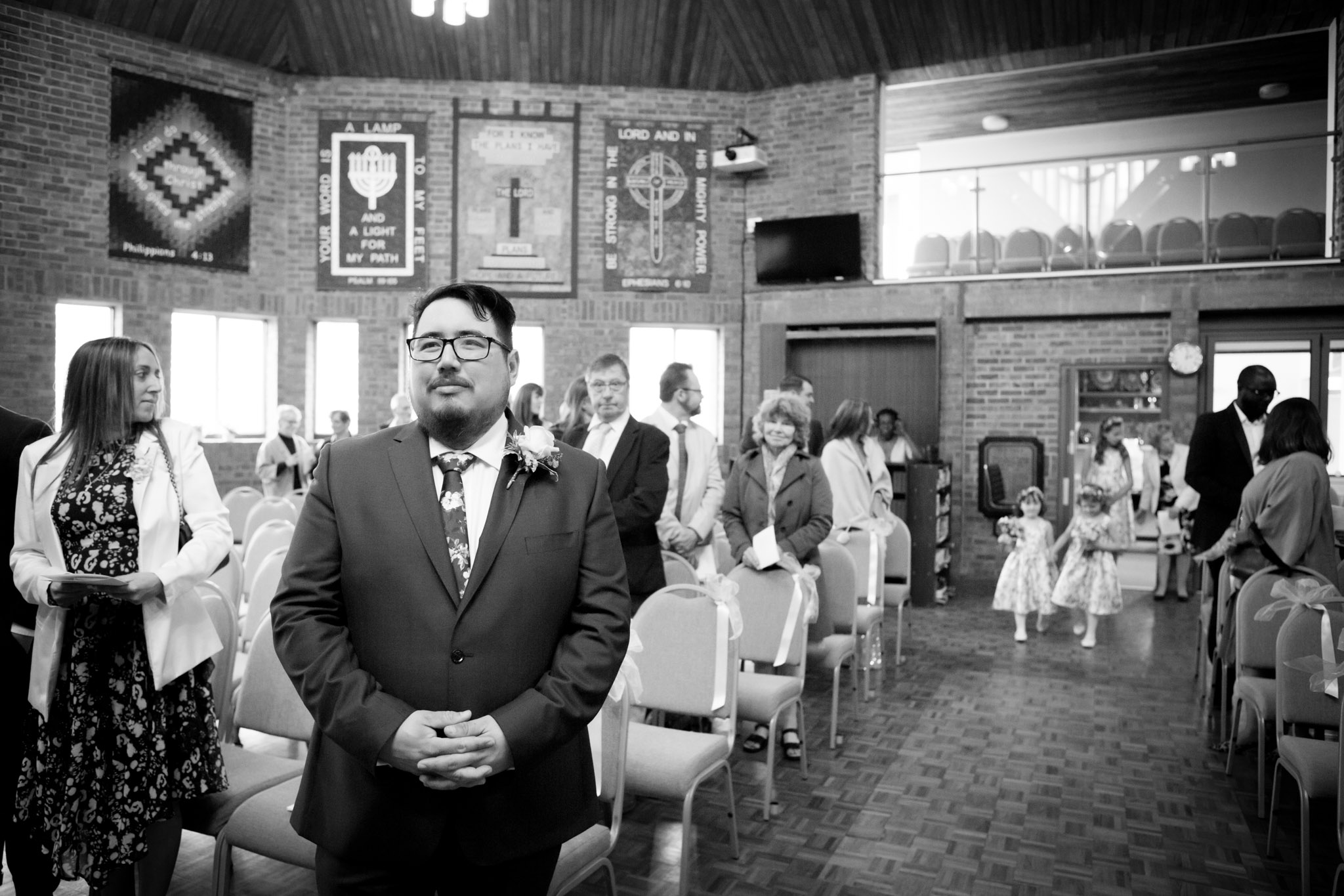 Groom waiting for his bride to arrive in Orpington church wedding