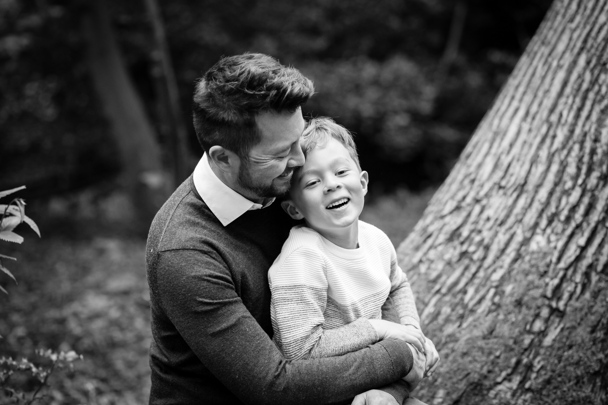 dad and son black and white outdoor photo Beckenham Place Park