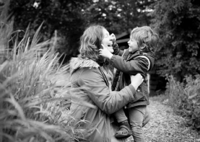 Mum and son playing in South East London during family photoshoot