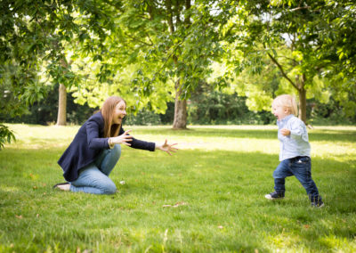 Mum and son playing in Beckenham Place Park, South East London during family photoshoot