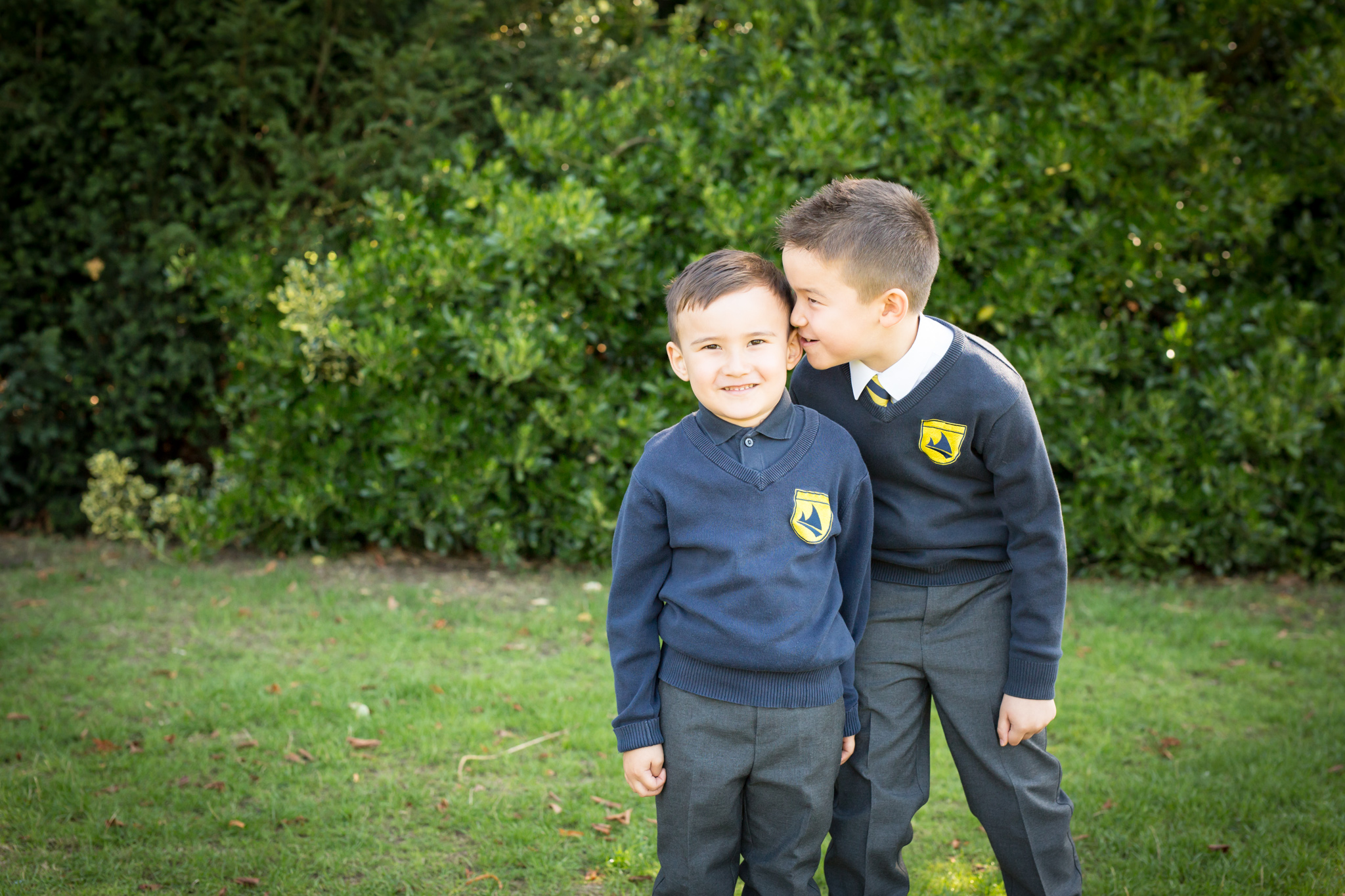 Brothers school photo outside in Beckenham