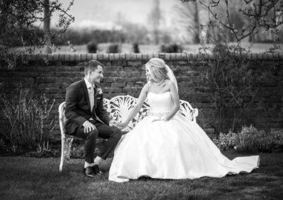 Bride and Groom portrait taken by Beckenham Wedding Photographer at Oaks Farm Weddings in Croydon, Surrey