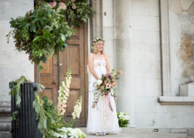 Bride outside Beckenham Place Mansion before her wedding